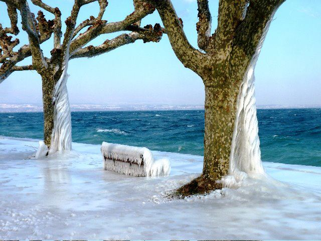 Le lac Léman gelé en hiver